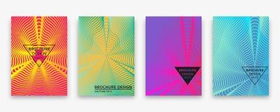 Progettazione dell'opuscolo con le linee di semitono dell'onda e le pendenze al neon illustrazione di stock