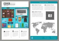 Progettazione dell'opuscolo di viaggio Modello per il concetto di turismo e di viaggio Vettore Immagini Stock