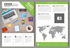 Progettazione dell'opuscolo di viaggio Modello per il concetto di turismo e di viaggio Vettore Fotografia Stock