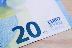 progettazione della banconota dell'euro 20 nuova Fotografie Stock Libere da Diritti