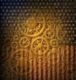 Progettazione della bandiera e degli ingranaggi degli Stati Uniti Fotografia Stock