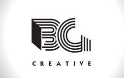 Progettazione della BG Logo Letter With Black Lines Linea vettore Illus della lettera Fotografia Stock Libera da Diritti