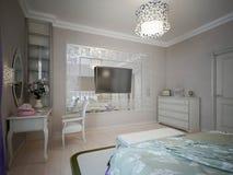 Progettazione della camera da letto con le pareti beige Fotografie Stock Libere da Diritti