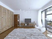 Progettazione della camera da letto dell'hotel Fotografia Stock Libera da Diritti