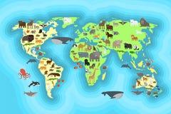 Progettazione della carta da parati della mappa di mondo degli animali Fotografie Stock