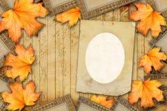 Progettazione della carta di lerciume nello stile scrapbooking con photoframe Fotografia Stock Libera da Diritti