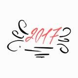 Progettazione della cartolina d'auguri con la calligrafia cinese per 2017 nuovi anni del gallo Iscrizione disegnata a mano Perfez illustrazione di stock
