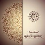 Progettazione della cartolina d'auguri con la mandala Fotografia Stock Libera da Diritti