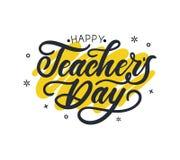Progettazione della cartolina d'auguri del giorno dell'insegnante felice con iscrizione e geom illustrazione vettoriale