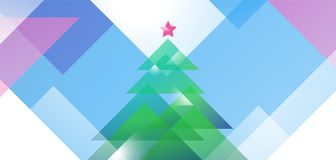Progettazione della cartolina d'auguri del nuovo anno con l'albero di Natale delle forme diagonali di vettore colorato Modello in Illustrazione di Stock