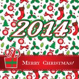 Progettazione della cartolina d'auguri dell'agrifoglio di Buon Natale Fotografie Stock