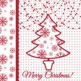 Progettazione della cartolina d'auguri dell'albero di Natale Fotografia Stock