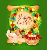 Progettazione della cartolina d'auguri di festa della molla di Pasqua Fotografia Stock Libera da Diritti