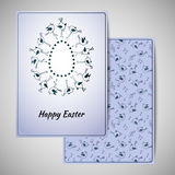 Progettazione della cartolina d'auguri di Pasqua con gli uccelli svegli Fotografia Stock