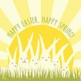 Progettazione della cartolina d'auguri di Pasqua con i coniglietti bianchi Immagini Stock