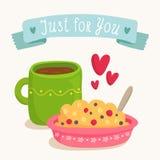 Progettazione della cartolina d'auguri di San Valentino con la prima colazione romantica Fotografie Stock