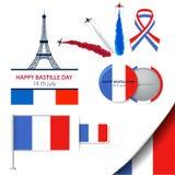 Progettazione della cartolina d'auguri per il giorno di Bastille quattordici di luglio o di un'altra festa francese Illustrazione illustrazione vettoriale