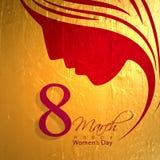 Progettazione della cartolina d'auguri per la celebrazione del giorno delle donne Fotografie Stock