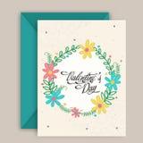 Progettazione della cartolina d'auguri per la celebrazione di San Valentino Immagini Stock Libere da Diritti