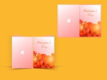 Progettazione della cartolina d'auguri per la celebrazione felice di giorno di biglietti di S. Valentino Immagini Stock