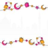 Progettazione della cartolina d'auguri per la celebrazione islamica di festival Immagine Stock