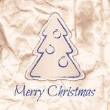 Progettazione della cartolina di Natale nel ecostyle laconico Fotografie Stock Libere da Diritti