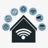 Progettazione della casa intelligente Icona di tecnologia grafico Fotografia Stock
