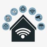 Progettazione della casa intelligente Icona di tecnologia Grafico di vettore Fotografia Stock Libera da Diritti