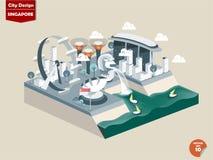 Progettazione della città di Singapore nella prospettiva Fotografia Stock Libera da Diritti
