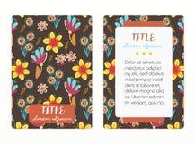 Progettazione della copertura con il modello floreale Fiori creativi disegnati a mano Fondo artistico variopinto con il fiore Immagine Stock Libera da Diritti