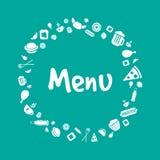 Progettazione della copertura del menu di vettore con le icone dell'alimento Fotografia Stock