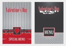 Progettazione della copertura del menu di vettore di giorno di biglietti di S. Valentino Fotografie Stock