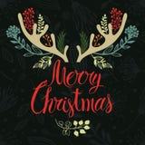 Progettazione della copertura della cartolina dei corni di Natale. Calligrap Fotografia Stock Libera da Diritti