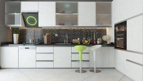 Progettazione della cucina con la mobilia di legno di colore bianco Immagini Stock