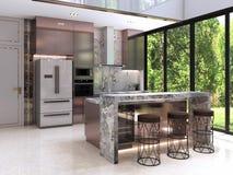 Progettazione della cucina, interno di stile di lusso moderno, fotografia stock libera da diritti