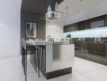 Progettazione della cucina moderna con l'isola Fotografie Stock