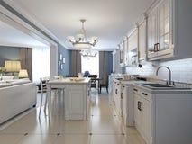 Progettazione della cucina nello stile mediterraneo Fotografia Stock