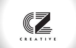 Progettazione della CZ Logo Letter With Black Lines Linea vettore Illus della lettera Fotografia Stock Libera da Diritti