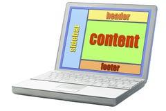 Progettazione della disposizione del sito Web sul computer portatile immagini stock libere da diritti