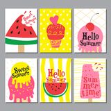 Progettazione della disposizione di estate, cartolina d'auguri, libro della copertura, insegna, manifesto Immagine Stock