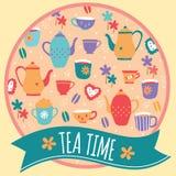 Progettazione della disposizione di tempo del tè Fotografia Stock