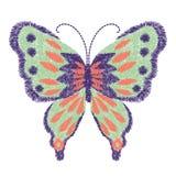 Progettazione della farfalla del ricamo per abbigliamento vettore di insetto Fotografie Stock Libere da Diritti