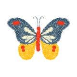 Progettazione della farfalla del ricamo per abbigliamento vettore di insetto isolato Fotografia Stock