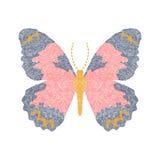 Progettazione della farfalla del ricamo per abbigliamento Vettore insetto Fotografia Stock Libera da Diritti