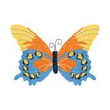 Progettazione della farfalla del ricamo per abbigliamento Vettore isolato Fotografie Stock Libere da Diritti