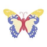 Progettazione della farfalla per abbigliamento decorazione isolata di vettore di insetto Immagine Stock Libera da Diritti
