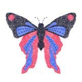 Progettazione della farfalla per abbigliamento vettore di insetto del ricamo Fotografia Stock