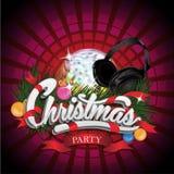 Progettazione della festa di Natale con la palla della discoteca e Fotografia Stock