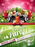 Progettazione della festa di Natale di vettore con gli elementi typographiy di festa su fondo brillante Fotografia Stock