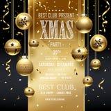 Progettazione della festa di Natale dorata Immagine Stock